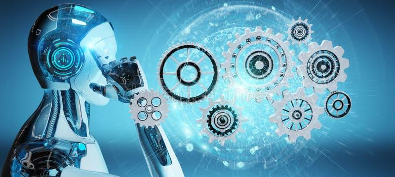 Белый робот гуманоида используя цифровой перевод шестерней 3D иллюстрация штока