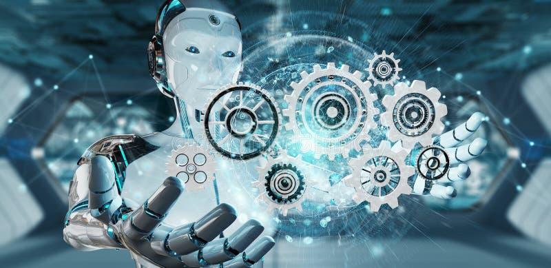 Белый робот гуманоида используя цифровой перевод шестерней 3D бесплатная иллюстрация