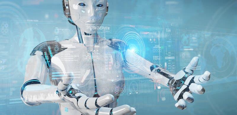 Белый робот гуманоида используя цифровой технологический интерфейс с переводом данных 3D иллюстрация штока