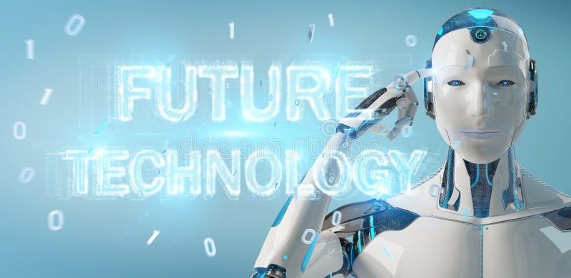Белый робот используя будущий перевод hologram 3D текста технологии иллюстрация вектора