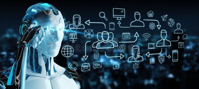 Белый робот контролируя социальный интерфейс значков сети иллюстрация штока