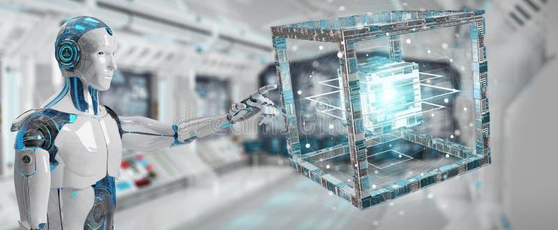Белый робот создавая будущий перевод структуры 3D технологии иллюстрация вектора