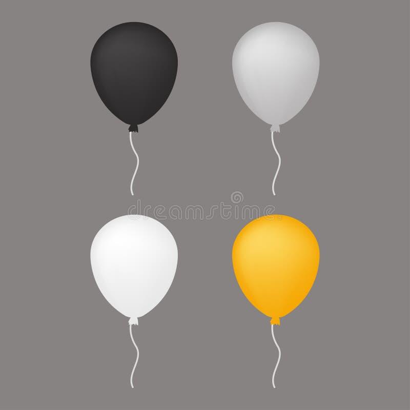 Белый, серый воздушный шар иллюстрация вектора