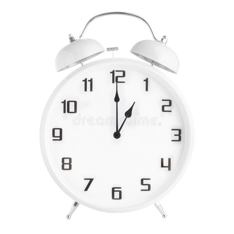 Белый сетноой-аналогов показ одно после полудня будильника или 1 часов утра изолированный на белой предпосылке стоковые фотографии rf