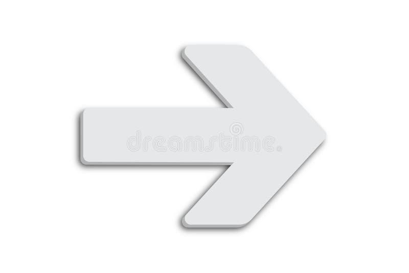 Белый символ знака стрелки в минималистской белой серой форме дизайна цвета 3D и изолированный на простой минимальной чистой бело иллюстрация вектора