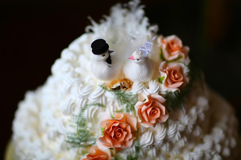 Белый сметанообразный свадебный пирог при голуби и обручальные кольца украшенные с розами стоковые изображения rf
