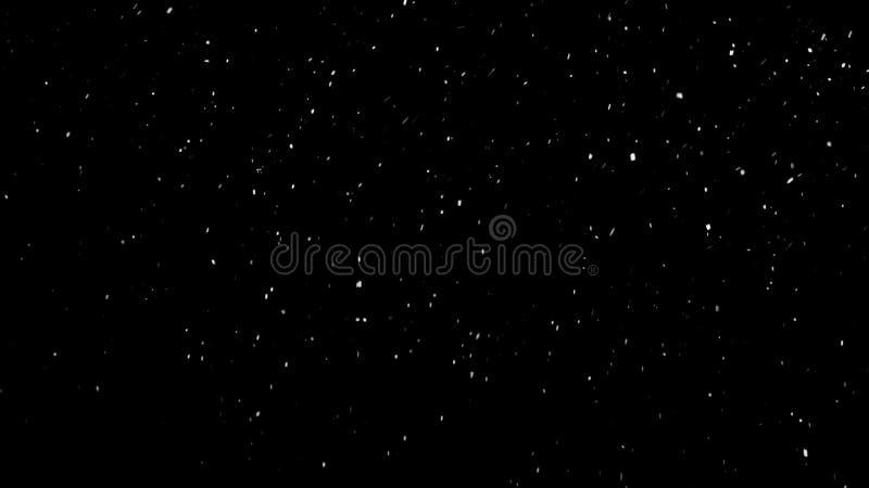 Белый снег падая на изолированную черную предпосылку стоковое изображение rf