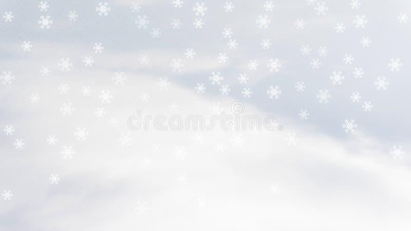 Белый снежинка или ледяной хрусталь цветут и падает на белые пушистые облака и голубое небо стоковые изображения rf