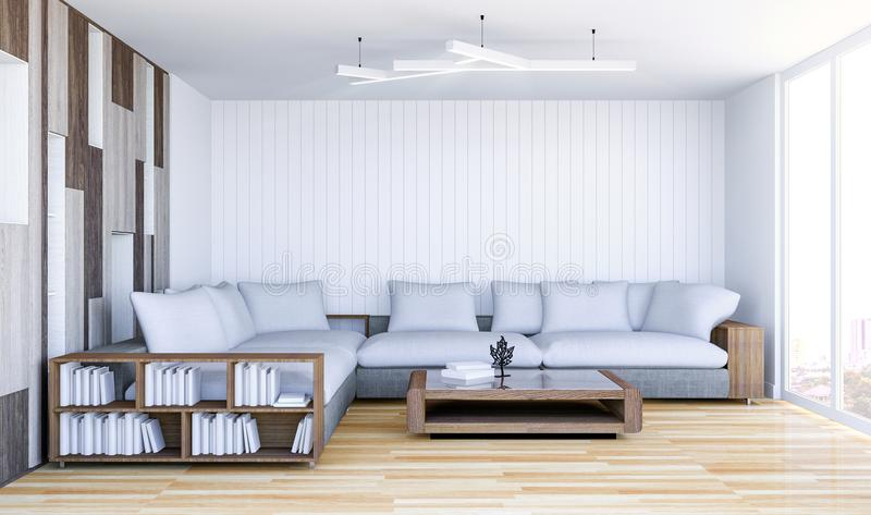Белый современный интерьер живущей комнаты с пустой стеной стоковое фото