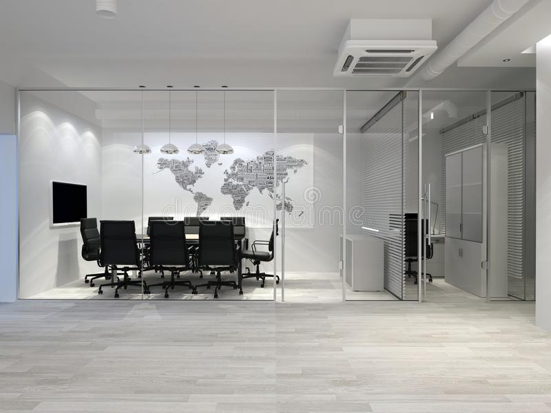 Белый современный интерьер офиса предводительствует таблицу конференц-зала конференции перевод 3d иллюстрация штока