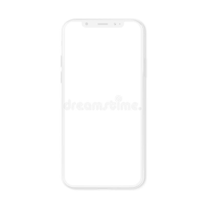 Белый современный модель-макет смартфона изолированный на белом переводе 3D иллюстрация штока