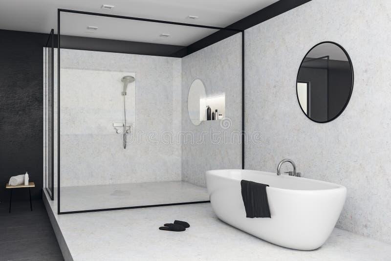 Белый стеклянный интерьер ванной комнаты иллюстрация штока