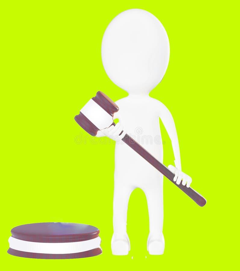 белый судья характера 3d иллюстрация вектора