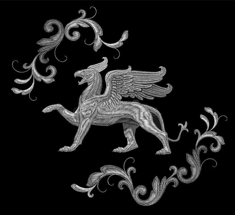 Белый текстурированный дизайн заплаты ткани грифона вышивки Печать ткани орнамента украшения моды Monochrome на черноте иллюстрация штока