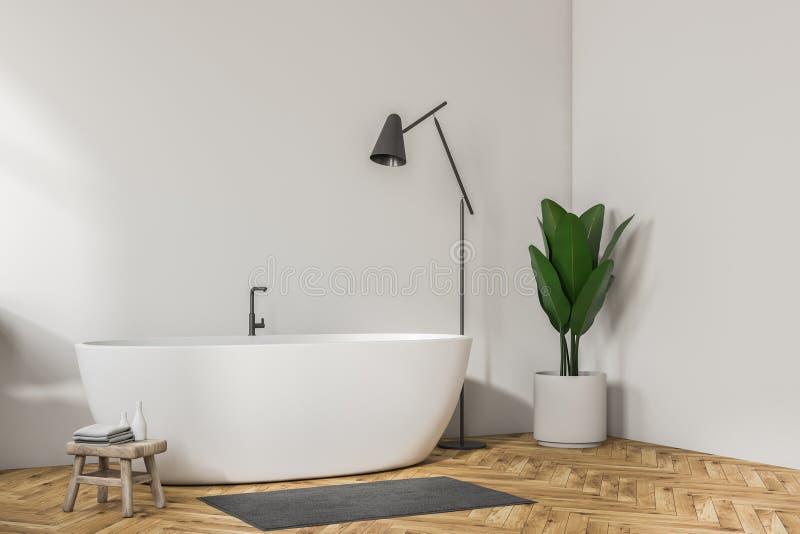 Белый угол ванной комнаты, белый ушат и лампа бесплатная иллюстрация