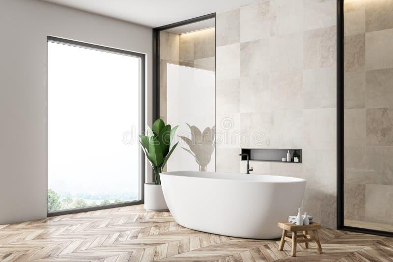 Белый угол bathrom плитки, ушат бесплатная иллюстрация