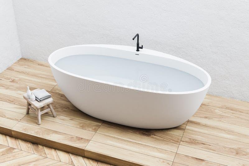 Белый ушат в белой ванной комнате, взгляд сверху бесплатная иллюстрация