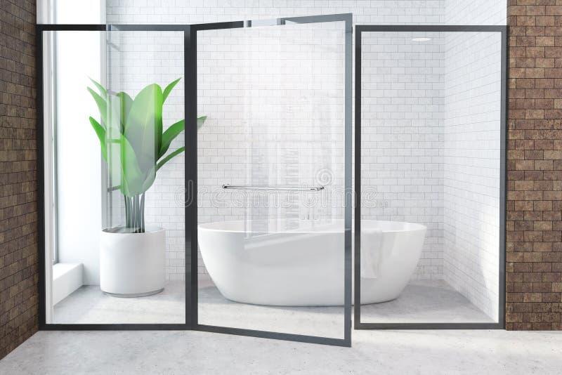 Белый ушат в белой и коричневой ванной комнате, стеклянной двери иллюстрация вектора