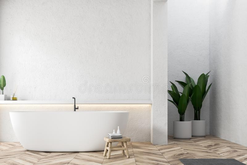 Белый ушат в белом интерьере bathroom, заводах бесплатная иллюстрация
