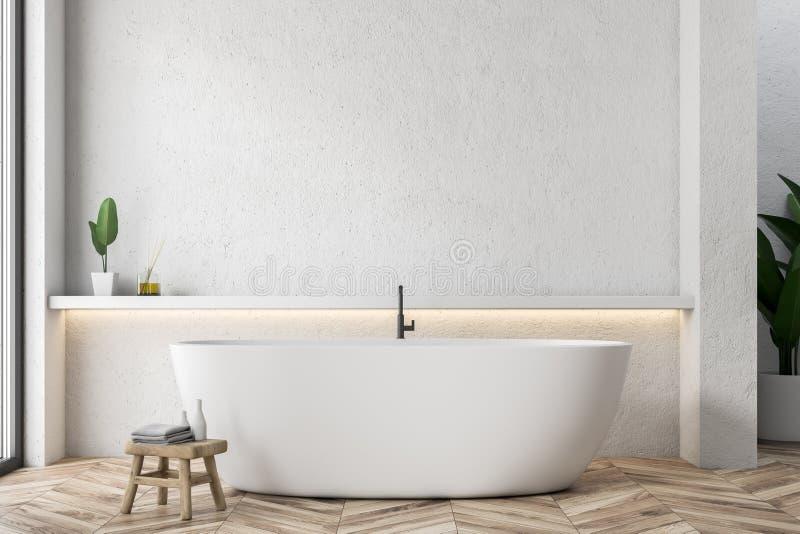 Белый ушат в белом интерьере bathroom иллюстрация штока