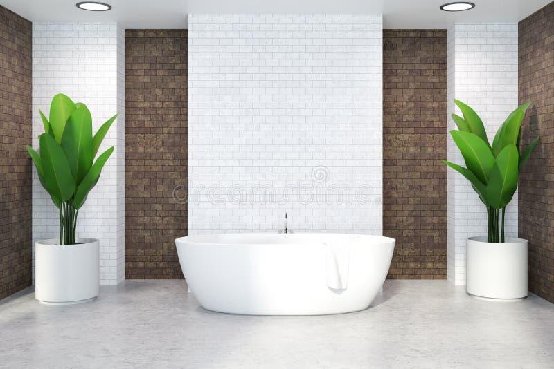 Белый ушат в белом и коричневом интерьере ванной комнаты иллюстрация вектора