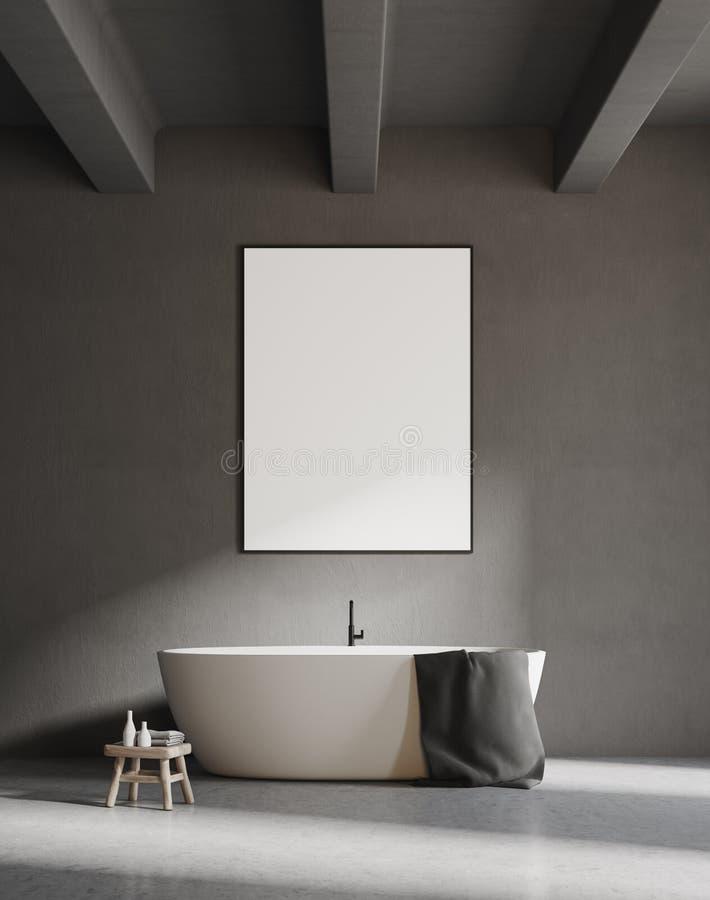 Белый ушат в серой ванной комнате, плакат бесплатная иллюстрация