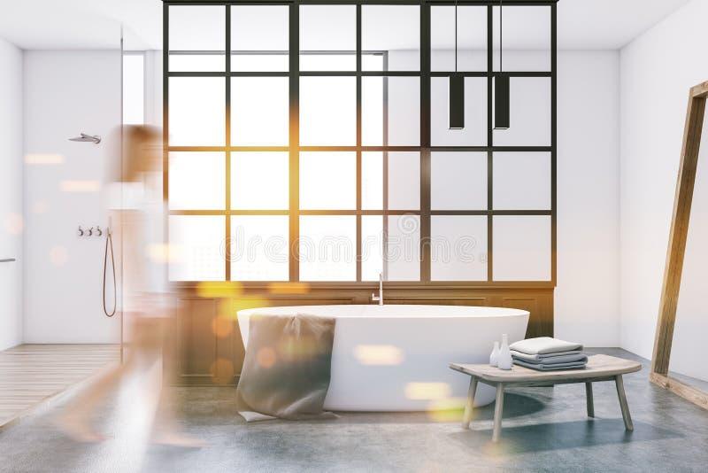 Белый ушат в современной ванной комнате, белизна, женщина нерезкости иллюстрация вектора