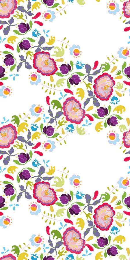 Белый фестон народного искусства с розовым цветком иллюстрация вектора