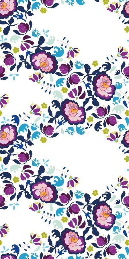 Белый фестон народного искусства с цветком бесплатная иллюстрация