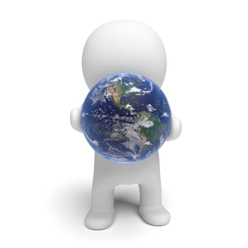 Белый характер 3d держа иллюстрацию земли 3d планеты изолированный на белой предпосылке бесплатная иллюстрация