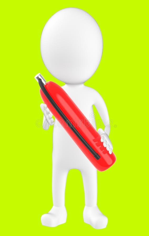 белый характер 3d держа огнетушитель бесплатная иллюстрация