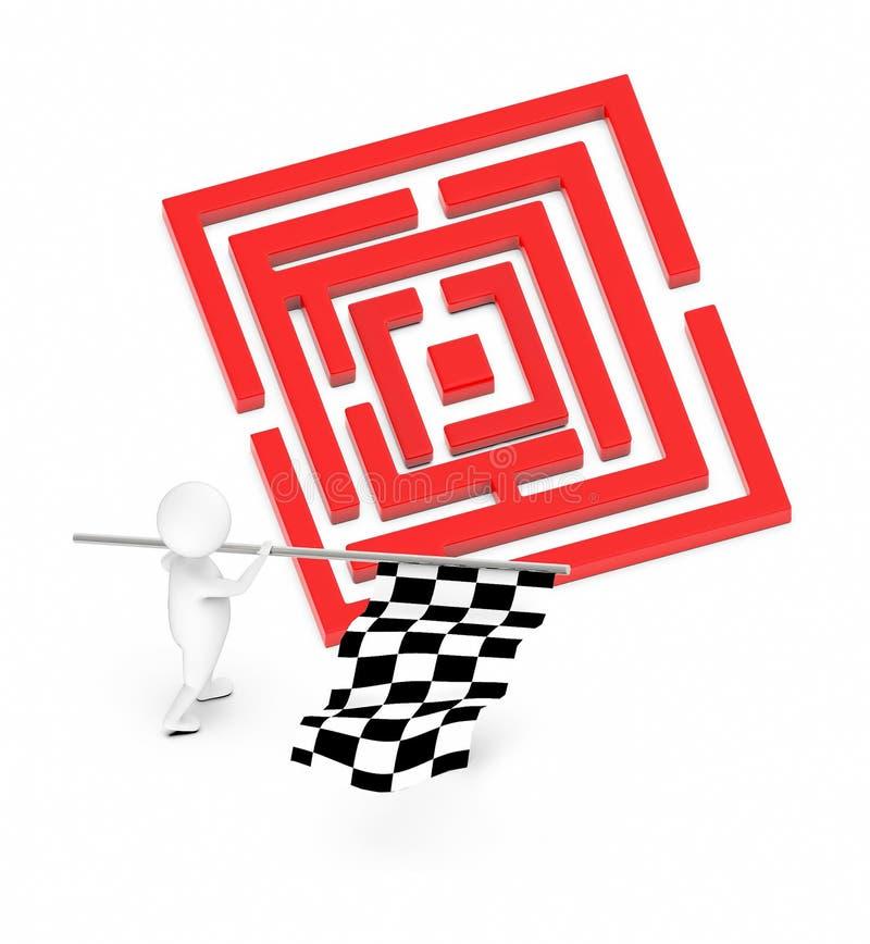 белый характер 3d развевая флаг проверки с обеими из его рук близко к красному нерешенному лабиринту иллюстрация вектора