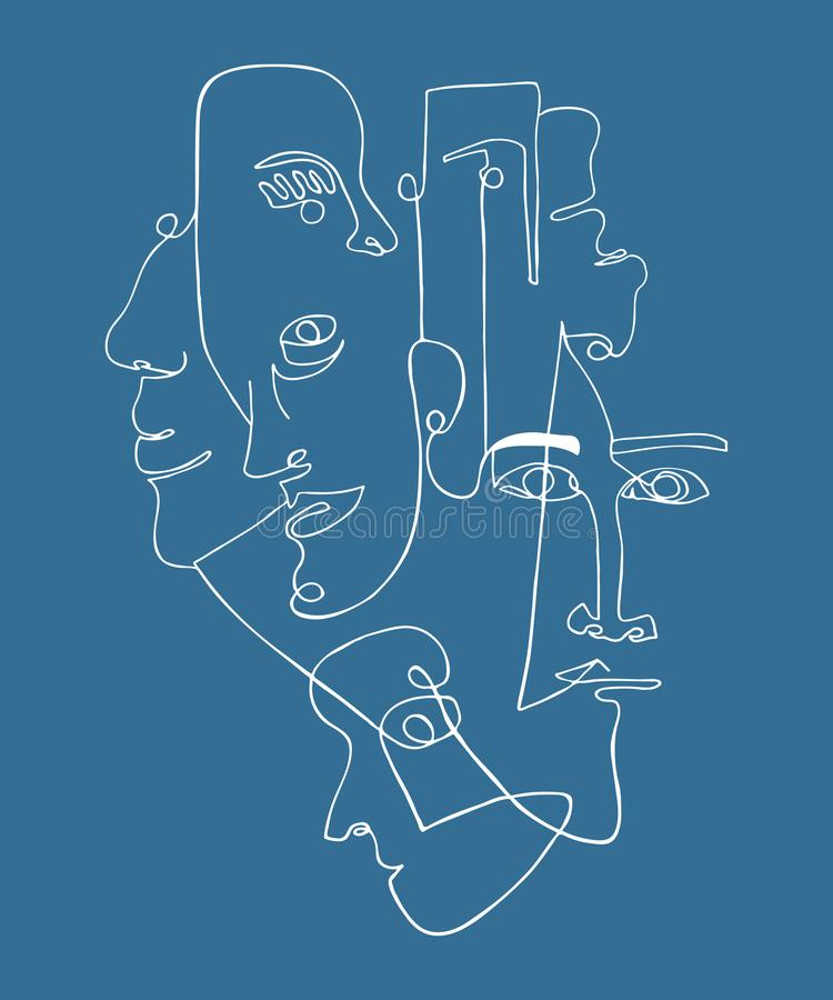 Современный плакат с линейными абстрактными сторонами Непрерывная линия искусство Одна линия чертеж Минималистский график иллюстрация вектора