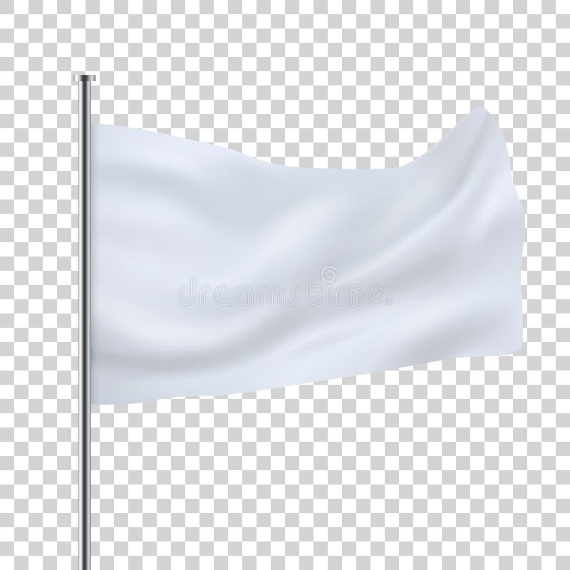 Белый шаблон флага парламентера Очистите горизонтальный развевая флаг иллюстрация вектора