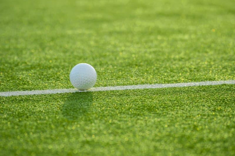 Белый шарик для хоккея игровой площадки на предпосылке травы стоковое фото rf