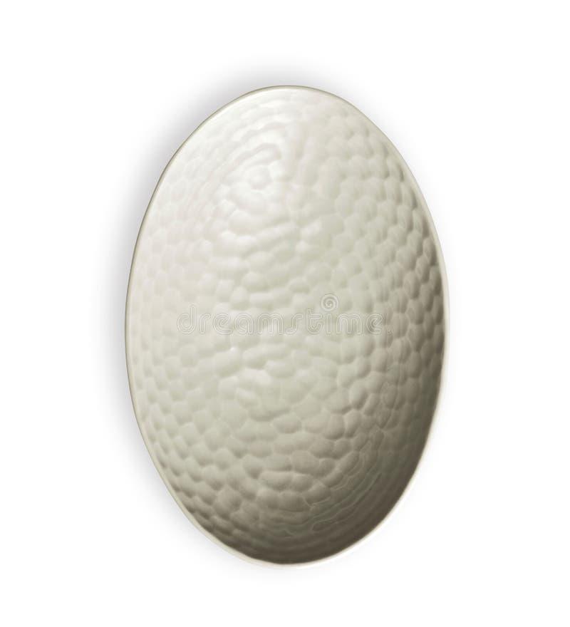Белый шар с грубой картиной, пустой керамический шар в овальной форме, осматривает сверху изолированный на белой предпосылке с пу стоковые изображения