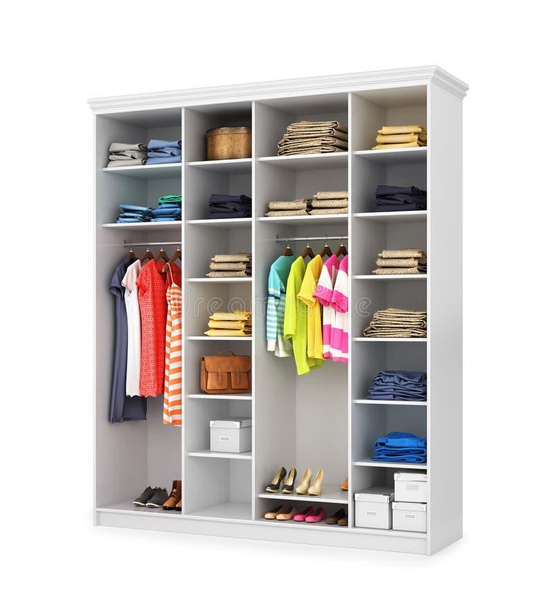 Белый шкаф с открыть дверями, вещами stuffings бесплатная иллюстрация