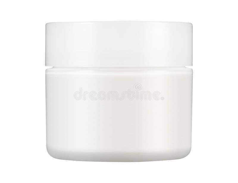 Белый штейновый стеклянный Doublewall опарник с пластичной крышкой стоковые фотографии rf