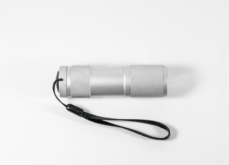 Белый электрофонарь СИД алюминия при черный ремень изолированный на whit стоковое фото