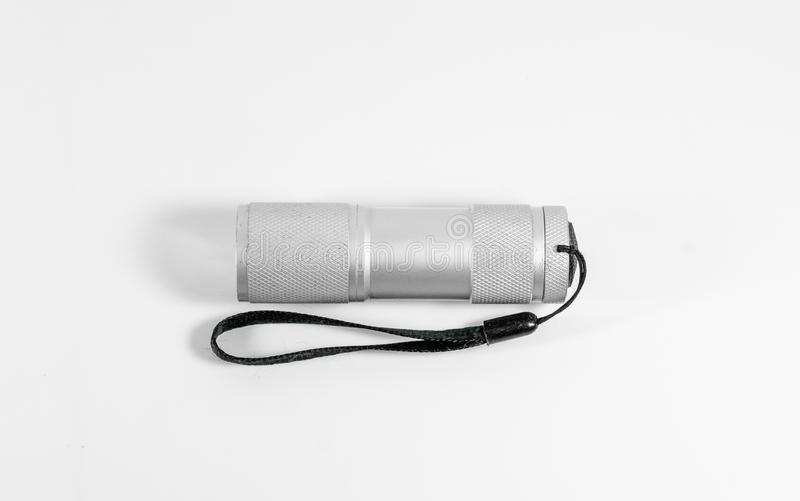 Белый электрофонарь СИД алюминия при черный ремень изолированный на whit стоковые фотографии rf