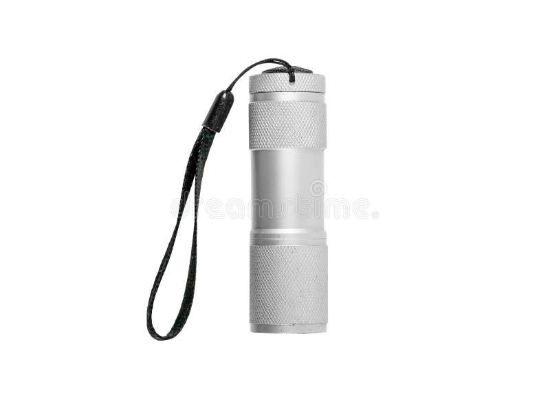 Белый электрофонарь СИД алюминия при черный ремень изолированный на whit стоковые фото