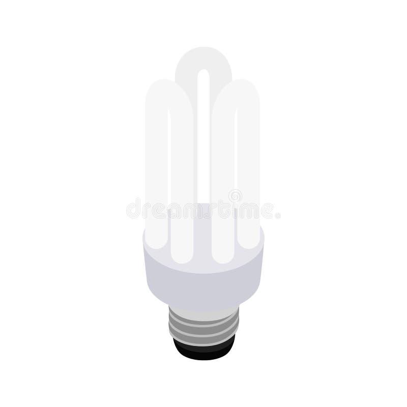Белый энергосберегающий значок шарика, равновеликий стиль 3d иллюстрация вектора