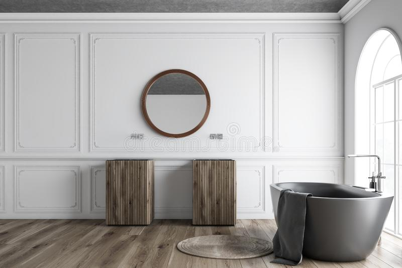 Белый bathroom, серый ушат и раковины иллюстрация штока