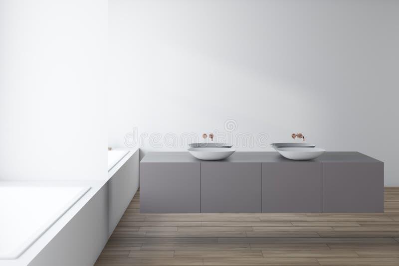 Белый bathroom стеклянной стены, двойная раковина и ушат бесплатная иллюстрация