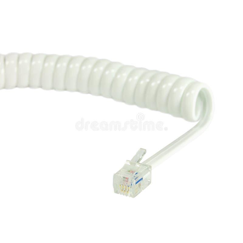 Белый disconnected удлинитель телефонной трубки, курчавая линия кабельная проводка катушки спирали, изолированная назеиная линия  стоковые изображения rf