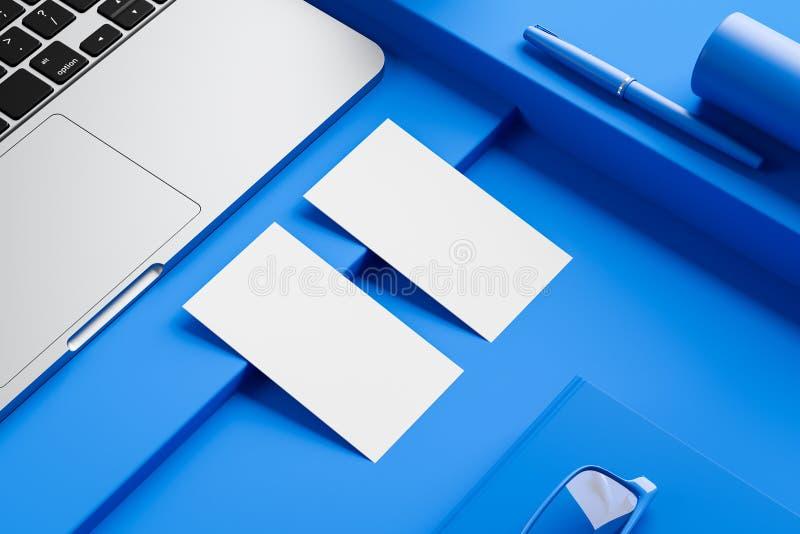 2 белых визитной карточки на голубой таблице компьютера иллюстрация штока
