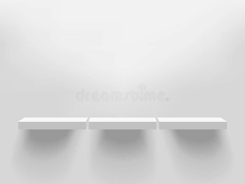 3 белых реалистических полки вектора прикрепленной к стене Adver иллюстрация штока