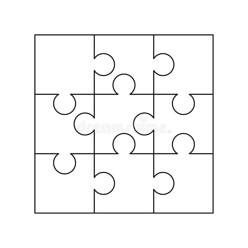 9 белых частей головоломок аранжированных в квадрате Шаблон мозаики готовый для печати Директивы вырезывания на белизне иллюстрация штока