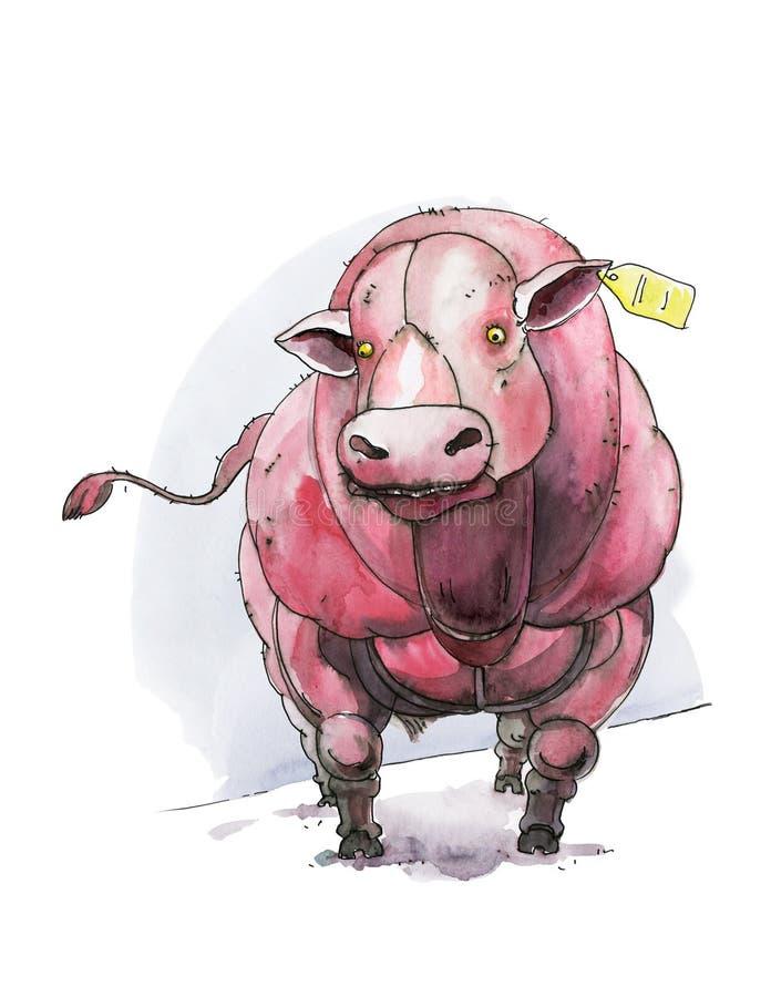 Бельгийская голубая корова Bull С обломоком в ухе, вид спереди Юмористическая иллюстрация Акварель r иллюстрация штока