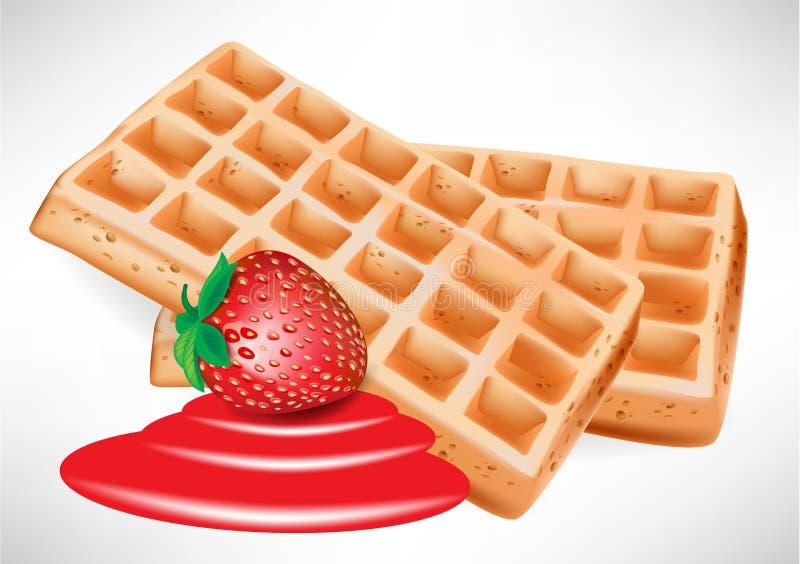 бельгийские waffles клубники иллюстрация штока